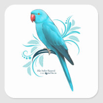 Blue Indian Ringneck Parrot Square Sticker