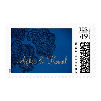Blue Indian Style Wedding Postal Stamp Royal Navy