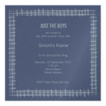 Blue Indigo Bachelor Party Invitation