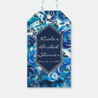 Blue Indigo Floral Flowers Elegant Chic Wedding Gift Tags