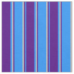 [ Thumbnail: Blue, Indigo & Grey Colored Striped Pattern Fabric ]