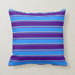 [ Thumbnail: Blue, Indigo & Grey Colored Striped Pattern Pillow ]