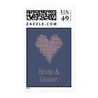 Blue Indigo heart Wedding Stamp