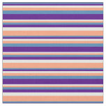 [ Thumbnail: Blue, Indigo, White & Light Salmon Pattern Fabric ]