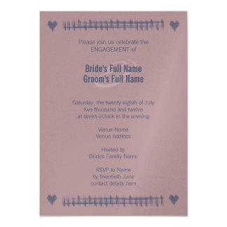 Blue Indigo & Woodrose Engagement Invitation