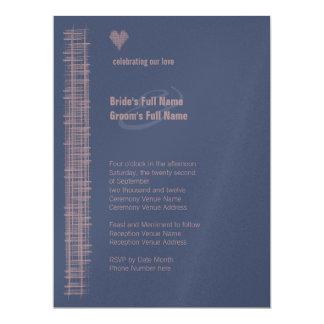 "Blue Indigo & Woodrose Wedding Invitation 4 6.5"" X 8.75"" Invitation Card"