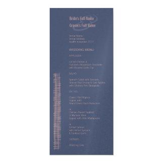 Blue Indigo & Woodrose Wedding Menu Card