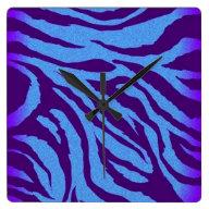 Blue/Indigo Zebra Print Wall Clock on Zazzle
