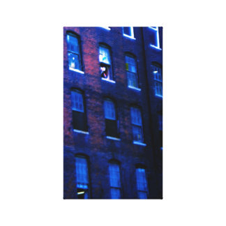 Blue industrial building gallery wrapped canvas
