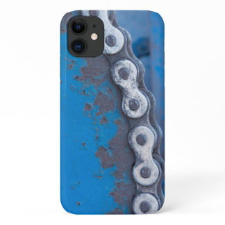 Blue Industrial Farm Gear with Rust Patina iPhone 11 Case