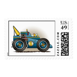 Blue Indy Race Car Stamps