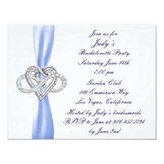 Blue Infinity Heart Bachelorette Party Invitation
