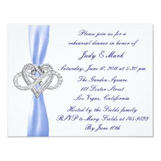 Blue Infinity Heart Rehearsal Dinner Invitation