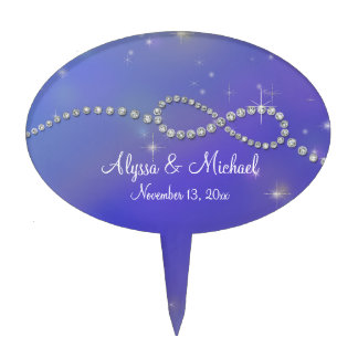 Blue Infinity Symbol Sign Infinite Love Twinkling Cake Topper