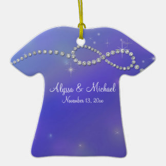 Blue Infinity Symbol Sign Infinite Love Twinkling Double-Sided T-Shirt Ceramic Christmas Ornament