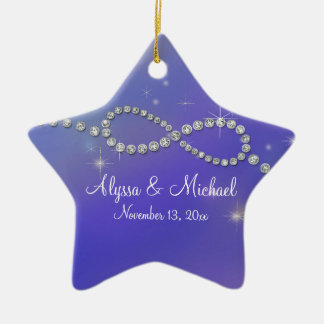 Blue Infinity Symbol Sign Infinite Love Twinkling Double-Sided Star Ceramic Christmas Ornament