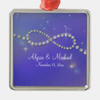 Blue Infinity Symbol Sign Infinite Love Twinkling Square Metal Christmas Ornament