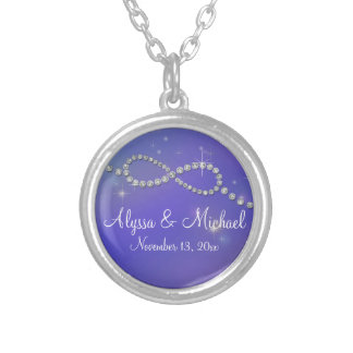 Blue Infinity Symbol Sign Infinite Love Twinkling Silver Plated Necklace