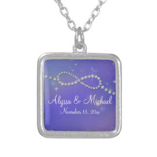 Blue Infinity Symbol Sign Infinite Love Twinkling Square Pendant Necklace