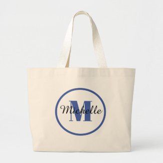 BLUE INITIAL and NAME tote bag