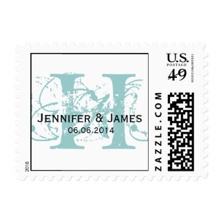 Blue Initial H Names Date Wedding Postage
