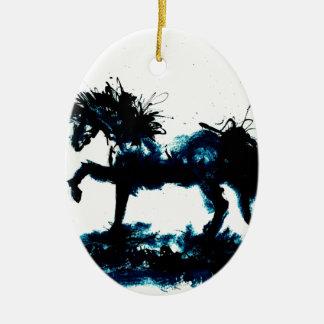 Blue ink horse flare ceramic ornament
