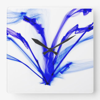 Blue ink in water design square wall clock