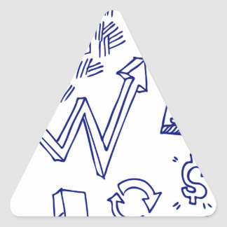 Blue Ink Stock Market Doodle Drawing Triangle Sticker