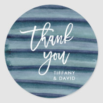 Blue Ink Stripes Wedding Thank You Classic Round Sticker