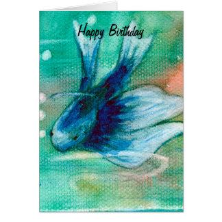 Blue Inky Betta Fish Greeting Card