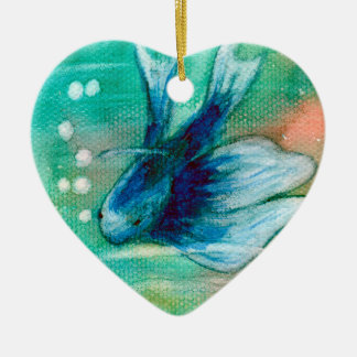 Blue Inky Betta Fish Ceramic Ornament
