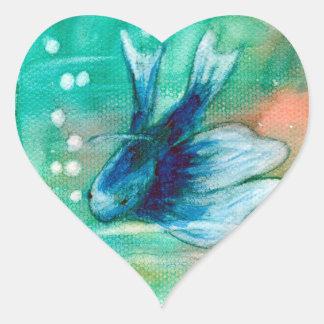 Blue Inky Betta Fish Heart Sticker