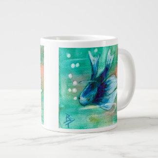 Blue Inky Betta Fish Large Coffee Mug