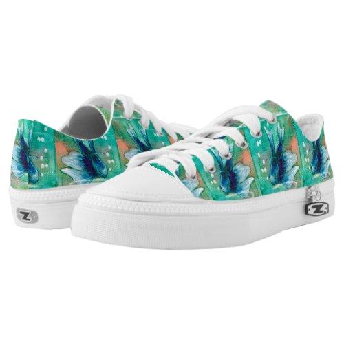 Blue Inky Betta Fish Low-Top Sneakers