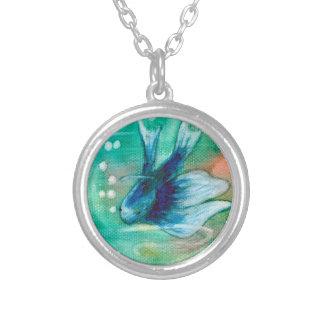 Blue Inky Betta Fish Custom Necklace