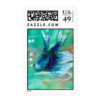 Blue Inky Betta Fish Postage Stamps