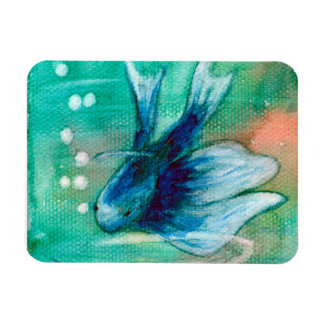 Blue Inky Betta Fish Rectangle Magnet
