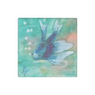 Blue Inky Betta Fish Stone Magnet
