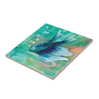 Blue Inky Betta Fish Tile