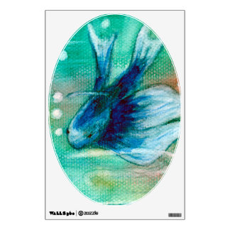 Blue Inky Betta Fish Room Graphic