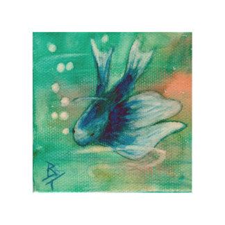 Blue Inky Betta Fish Wood Wall Art