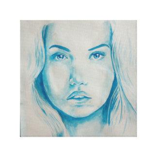 Blue innocent chick portrait canvas print