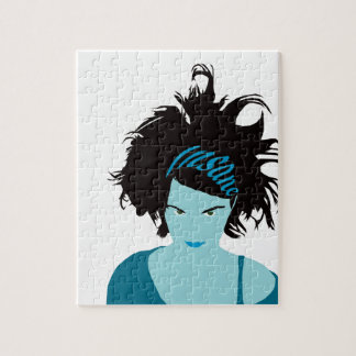 Blue Insane Girl Puzzle