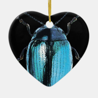 blue insect trash black bottom Double-Sided heart ceramic christmas ornament