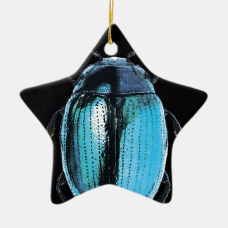 blue insect trash black bottom Double-Sided star ceramic christmas ornament
