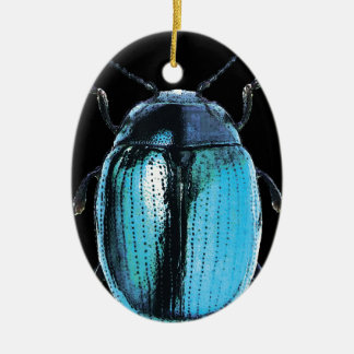 blue insect trash black bottom Double-Sided oval ceramic christmas ornament