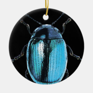 blue insect trash black bottom Double-Sided ceramic round christmas ornament