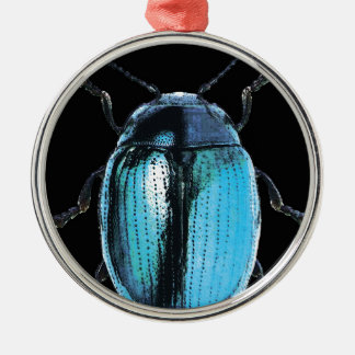 blue insect trash black bottom round metal christmas ornament