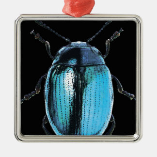 blue insect trash black bottom square metal christmas ornament