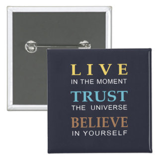 Blue Inspirational Modern Typography 2 Inch Square Button